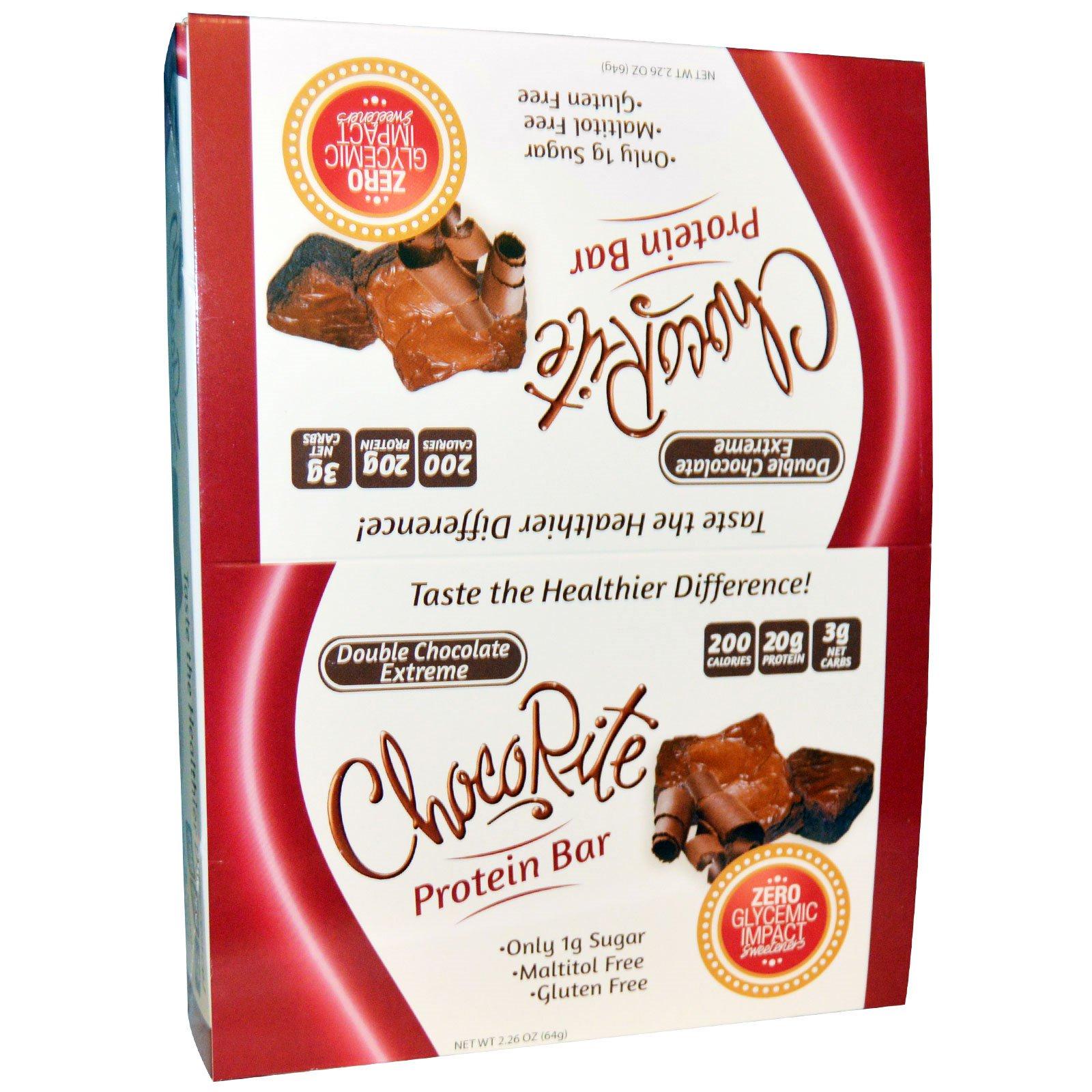 HealthSmart Foods, Inc., ChocoRite, Double Chocolate Extreme, 12 Protein Bars, 2.26 oz (64 g)
