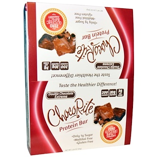 HealthSmart Foods, Inc., ChocoRite Protein Bar, Double Chocolate Extreme, 12 Bars, 2.26 oz (64 g) Each