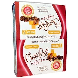 HealthSmart Foods, Inc., ChocoRite Protein Bar, Caramel Mocha, 12 Bars, 2.26 oz (64 g) Each