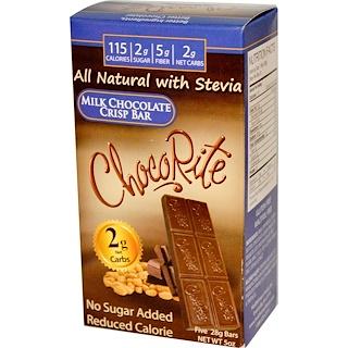 HealthSmart Foods, Inc., ChocoRite, barra crujiente de chocolate con leche, 5 barras, (28 g) cada una