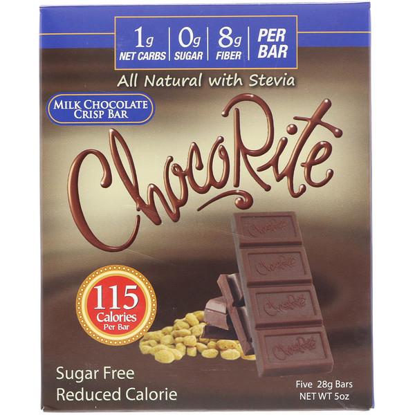 HealthSmart Foods, ChocoRite, Milk Chocolate Crisp Bar, 5 Bars, (28 g) Each (Discontinued Item)
