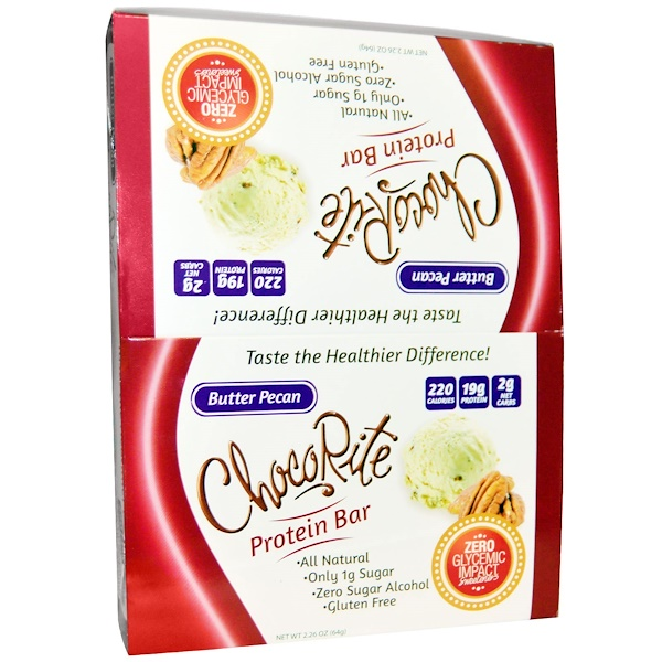 HealthSmart Foods, Inc., ChocoRite Protein Bar, Butter Pecan, 12 Bars, 2.26 oz (64 g) Each (Discontinued Item)