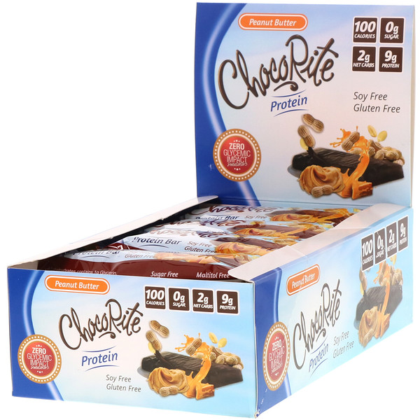 HealthSmart Foods, ChocoRite Protein Bar, Peanut Butter, 16 Bars, 1.2 oz (34 g) Each  (Discontinued Item)
