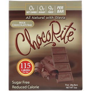 HealthSmart Foods, Inc., ChocoRite, Milk Chocolate Bar, Sugar Free , 5 Bars, (28 g) Each