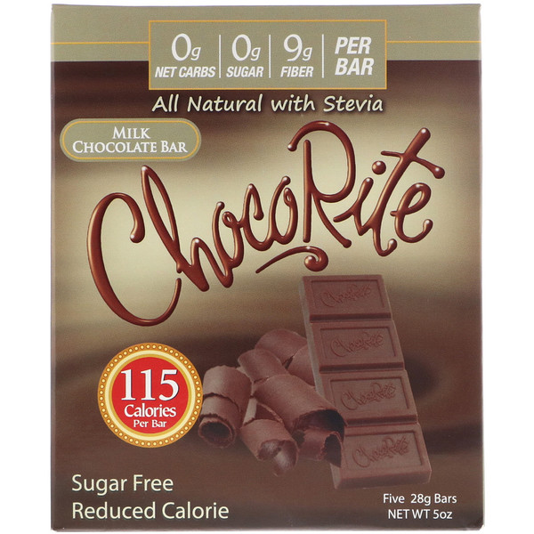 HealthSmart Foods, ChocoRite, Milk Chocolate Bar, Sugar Free , 5 Bars, (28 g) Each