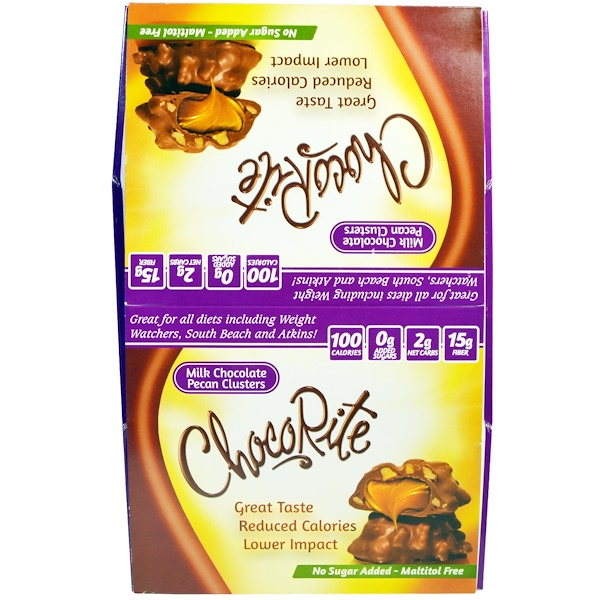 HealthSmart Foods, Inc., ChocoRite Milk Chocolate Pecan Cluster, 16 Count, 1.13 oz (32 g) Each