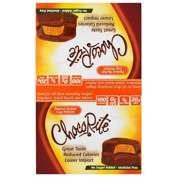HealthSmart Foods, Inc., ChocoRite, Peanut Butter Cup Patties, 16 Packs, 1.27 oz (36 g) Each