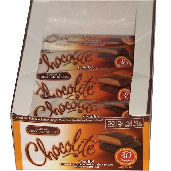 HealthSmart Foods, Inc., Chocolite, Caramel Chocolate Nougat, 16 (2-Piece Packs), .84 oz (24 g) Each  (Discontinued Item)