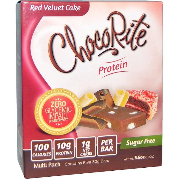 HealthSmart Foods, Inc., Батончики ЧокоРайт,  красный бархатный торт, 5 батончиков, по 5,6 унции (32 г) каждый (Discontinued Item)