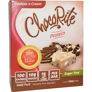 HealthSmart Foods, Inc., ChocoRite Cookies n Cream Bars, 5 protein bars, 5.6 oz (32 g) Each