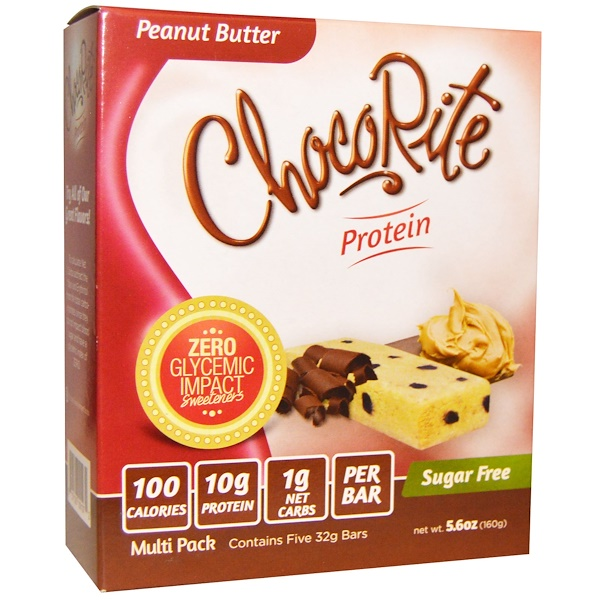HealthSmart Foods, ChocoRite Protein, Peanut Butter, Sugar Free, 5 Bars, 32 g Each (Discontinued Item)