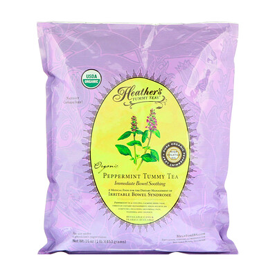 Heather's Tummy Care Чай Tummy Tea из органической мятой, мгновенное успокоение кишечника, без кафеина, 453 г