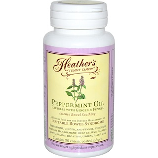 Heather's Tummy Care, Peppermint Oil, Intense Bowel Soothing, 90 Enteric Coated Softgels
