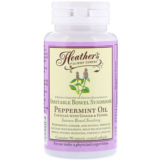 Heather's Tummy Care, Peppermint Oil, Intense Bowel Syndrome, 90 Enteric Coated Softgels