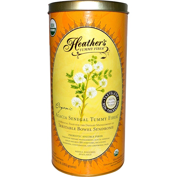 Heather's Tummy Care, Tummy Fibers, Acacia Senegal orgánica Tummy Fiber, 16 oz (453 g)