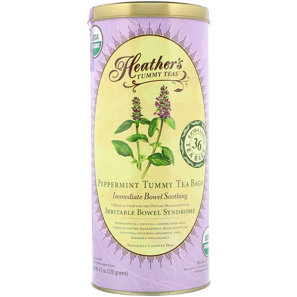 Heather's Tummy Care, Tummy Teas, Organic Peppermint Tea Bags, Caffeine Free, 36 Extra Large Tea Bags, 4.2 oz (120 g)