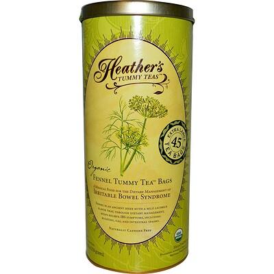 Heather's Tummy Care Чай от живота, пакетики с натуральным фенхелем, без кофеина, 45 пакетиков, 8.82 унций (250 г)