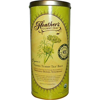 Heather's Tummy Care, Tummy Teas, Organic Fennel Tea Bags, Caffeine Free, 45 Tea Bags, 8.82 oz (250 g)