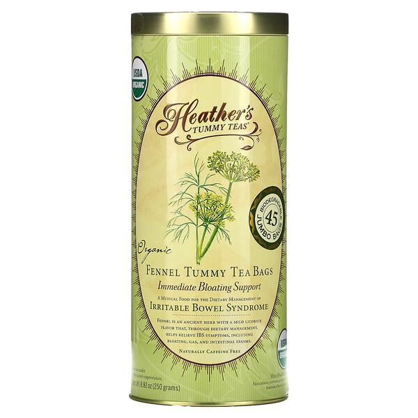 Heather's Tummy Care, タミーティー、有機フェンネルティーバッグ、カフェインフリー、45ティーバッグ、8.82 oz (250 g)