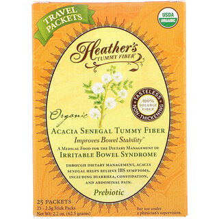 Heather's Tummy Care, Organic Acacia Senegal Tummy Fiber, 25 Stick Packs, 2.5 g Each