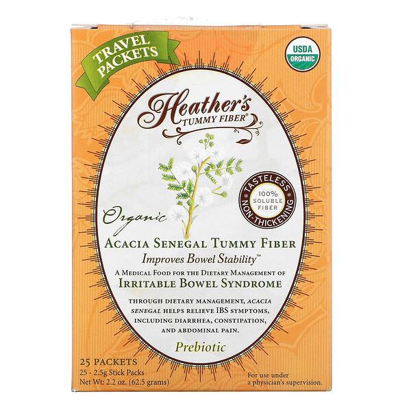 Organic Acacia Senegal Tummy Fiber, 25 Stick Packs, 2.5 g Each