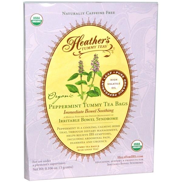 Heather's Tummy Care, Organic, Peppermint Tummy Tea Bags, 1 Tea Bag, 0.106 oz (3 g) (Discontinued Item)