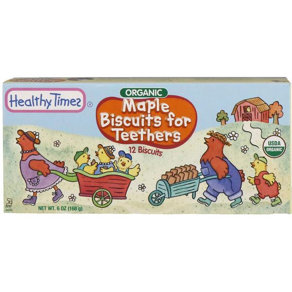 Healthy Times, 歯が生えかけた乳幼児のためのメープルビスケット、12個入り、6 oz (168 g) (Discontinued Item)