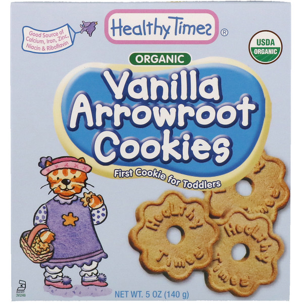 Healthy Times, Organic, Arrowroot Cookies, Vanilla, 5 oz (140 g) (Discontinued Item)