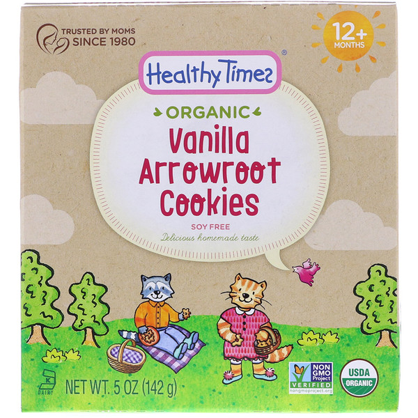 Healthy Times, Organic, Arrowroot Cookies, Vanilla, 12+ Months, 5 oz (142 g) (Discontinued Item)