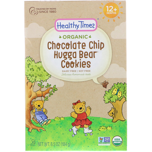 Healthy Times, Organic, Hugga Bear Cookies, Chocolate Chip, 12+ Months, 6.5 oz (184 g) (Discontinued Item)