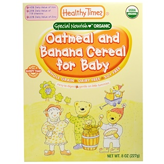 Healthy Times, Organic Cereal for Baby, Oatmeal and Banana, 8 oz (227 g)
