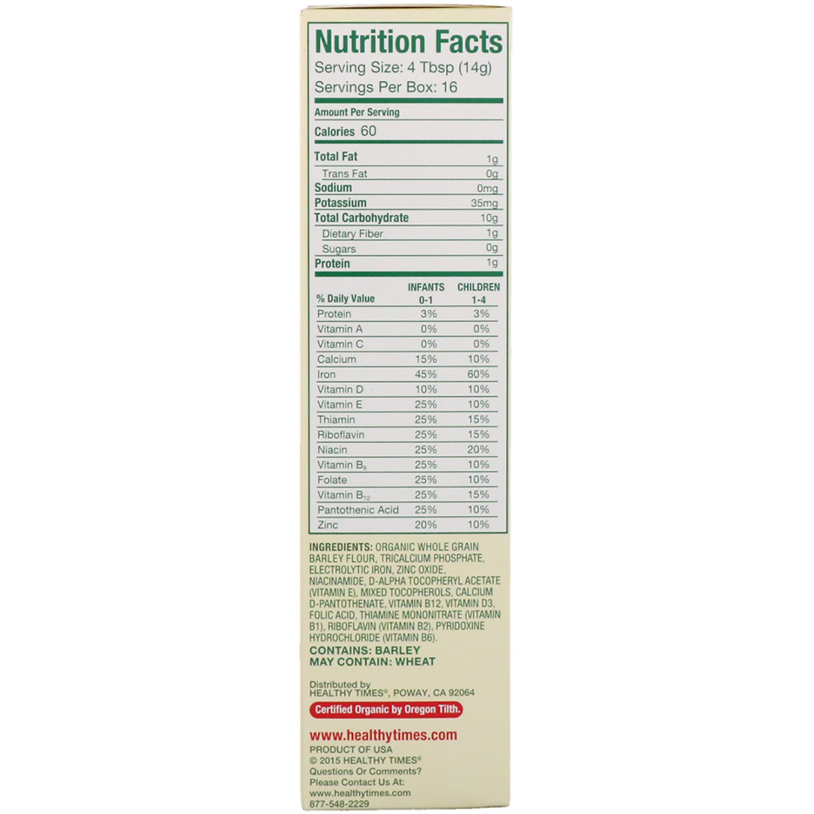 Healthy Times, Organic Cereal For Baby, Barley, 8 Oz (227