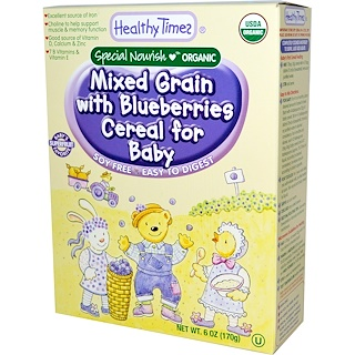 Healthy Times, Organic Cereal for Baby, Mixed Grain with Blueberries, 6 oz (170 g)