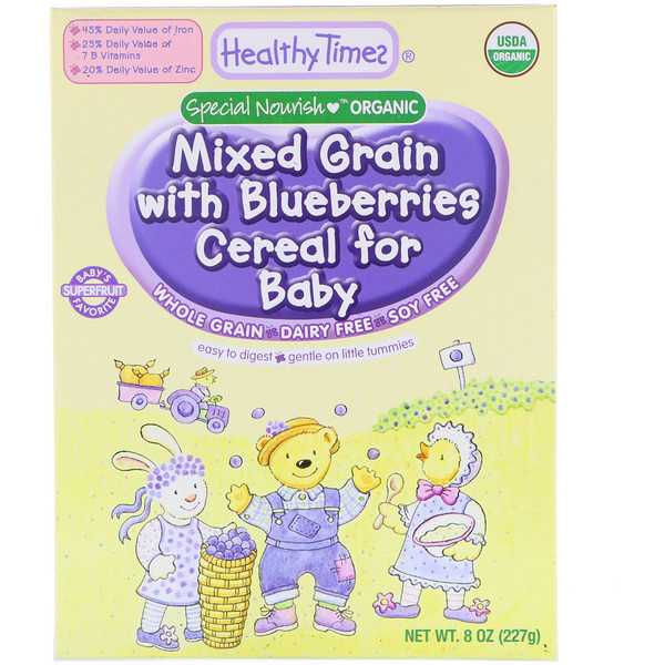 Healthy Times, Organic, Mixed Grain with Blueberries Cereal for Baby, 8 oz (227 g) (Discontinued Item)