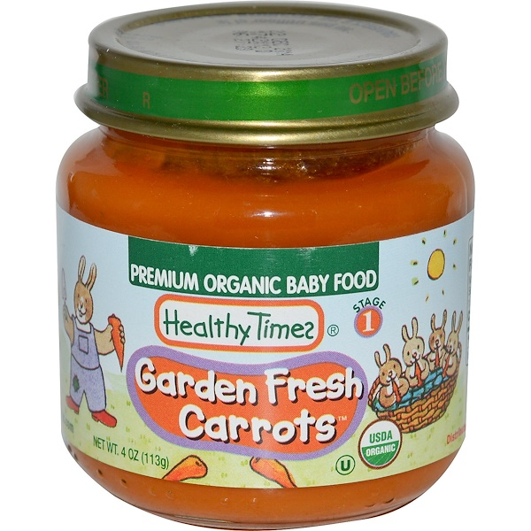 Healthy Times, Premium Organic Baby Food, Garden Fresh Carrots, Stage 1, 4 oz (113 g) (Discontinued Item)