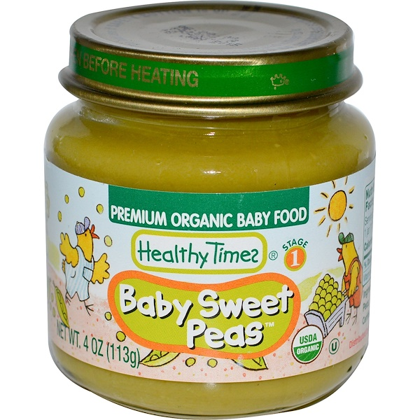 Healthy Times, Premium Organic Baby Food, Baby Sweet Peas, 4 oz (113 g) (Discontinued Item)
