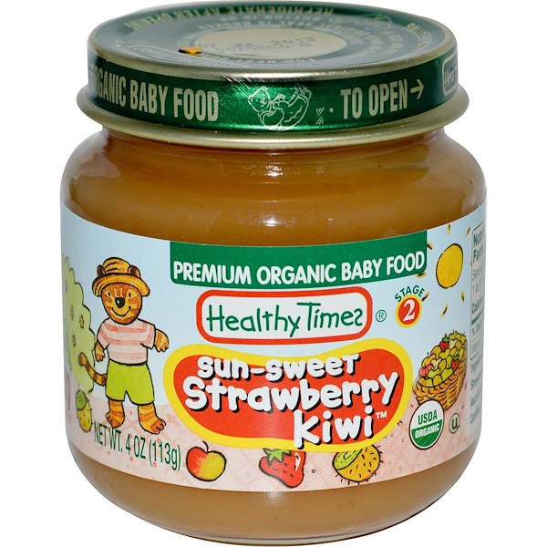 Healthy Times, Premium Organic Baby Food, Sun-Sweet Strawberry Kiwi, Stage 2, 4 oz (113 g) (Discontinued Item)