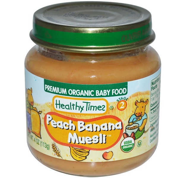 Healthy Times, Premium Organic Baby Food, Peach Banana Muesli, Stage 2, 4 oz (113 g) (Discontinued Item)
