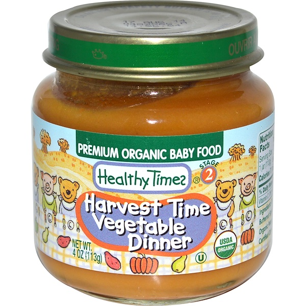Healthy Times, Premium Organic Baby Food, Harvest Time Vegetable Dinner, Stage 2, 4 oz (113 g) (Discontinued Item)