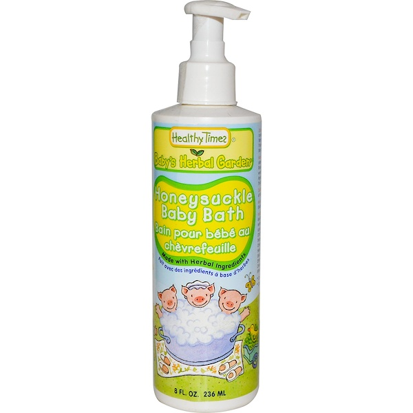 """Healthy Times, """"Детский травяной сад"""", детское средство для купания, с жимолостью, 8 жидких унций (236 мл) (Discontinued Item)"""