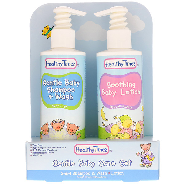 Healthy Times, Gentle Baby Care Set, 2-in-1 Shampoo & Wash, Lotion, 2 Bottles, 8 fl oz (236 ml) Each (Discontinued Item)
