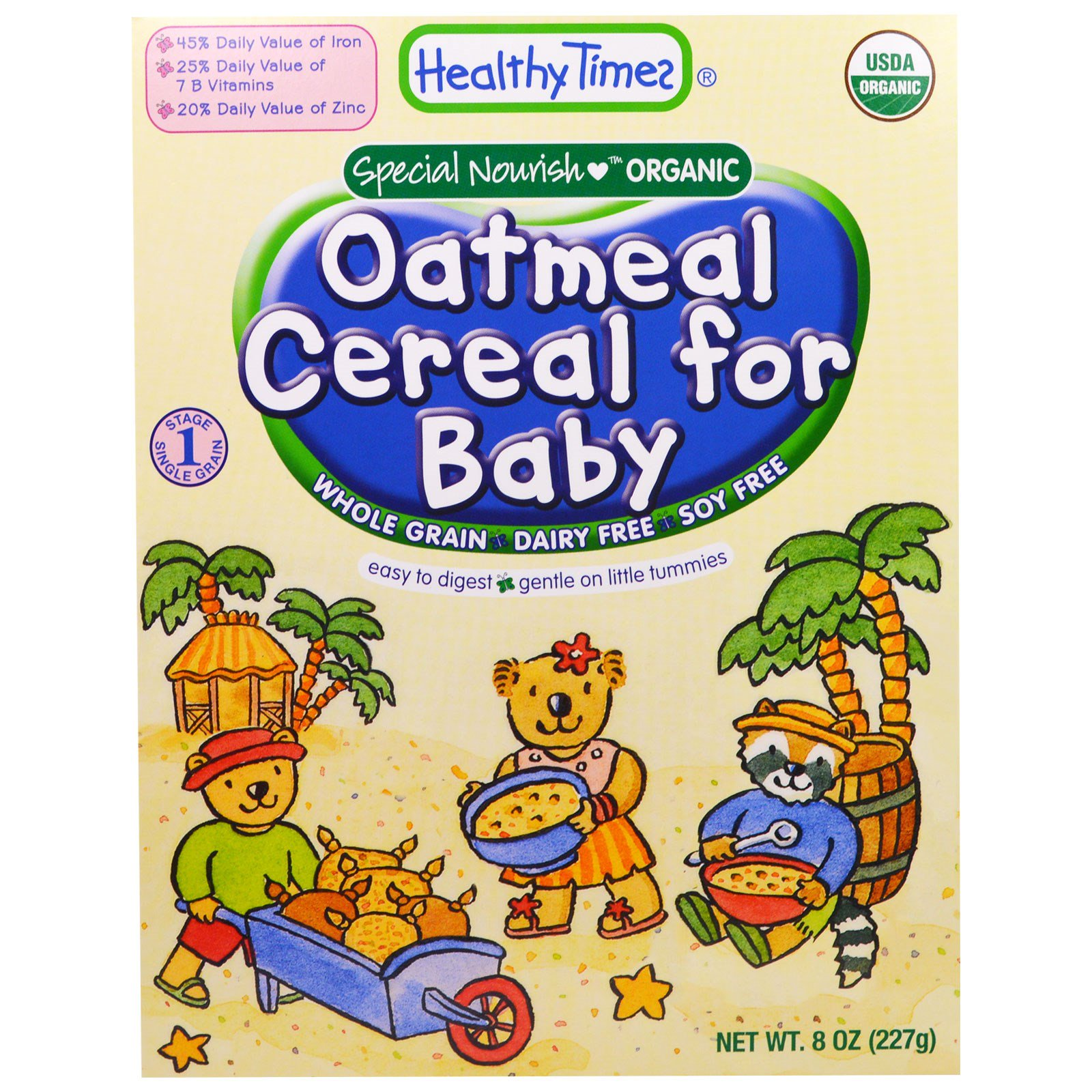 Healthy Times, Organic Cereal For Baby, Oatmeal, 8 Oz (227