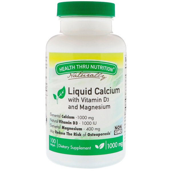 Health Thru Nutrition, Liquid Calcium, With Vitamin D3 and Magnesium, 1000 mg , 100 Softgels