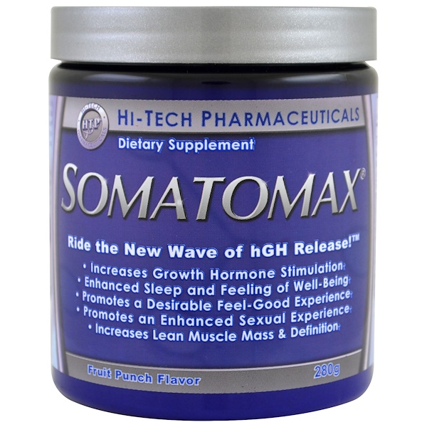 Hi Tech Pharmaceuticals, Somatomax، hGH Release ، نكهة الفاكهة، 280 ج (Discontinued Item)