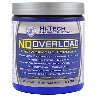 Hi Tech Pharmaceuticals, N.O. Overload, Pre-Workout Formula, Pounding Punch Flavor, 310 g