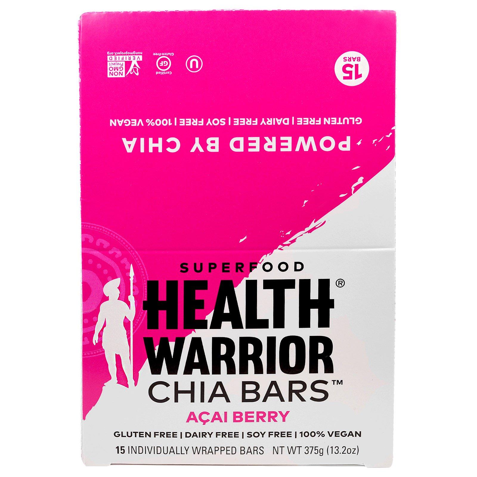 Health Warrior, Inc., Батончики чиа, ягода асаи, 15 батончиков, 375 г (13,2 унций)