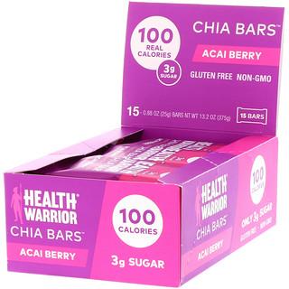 Health Warrior, Inc., Chia Bars, Acai Berry, 15 Bars, 0.88 oz (25 g) Each