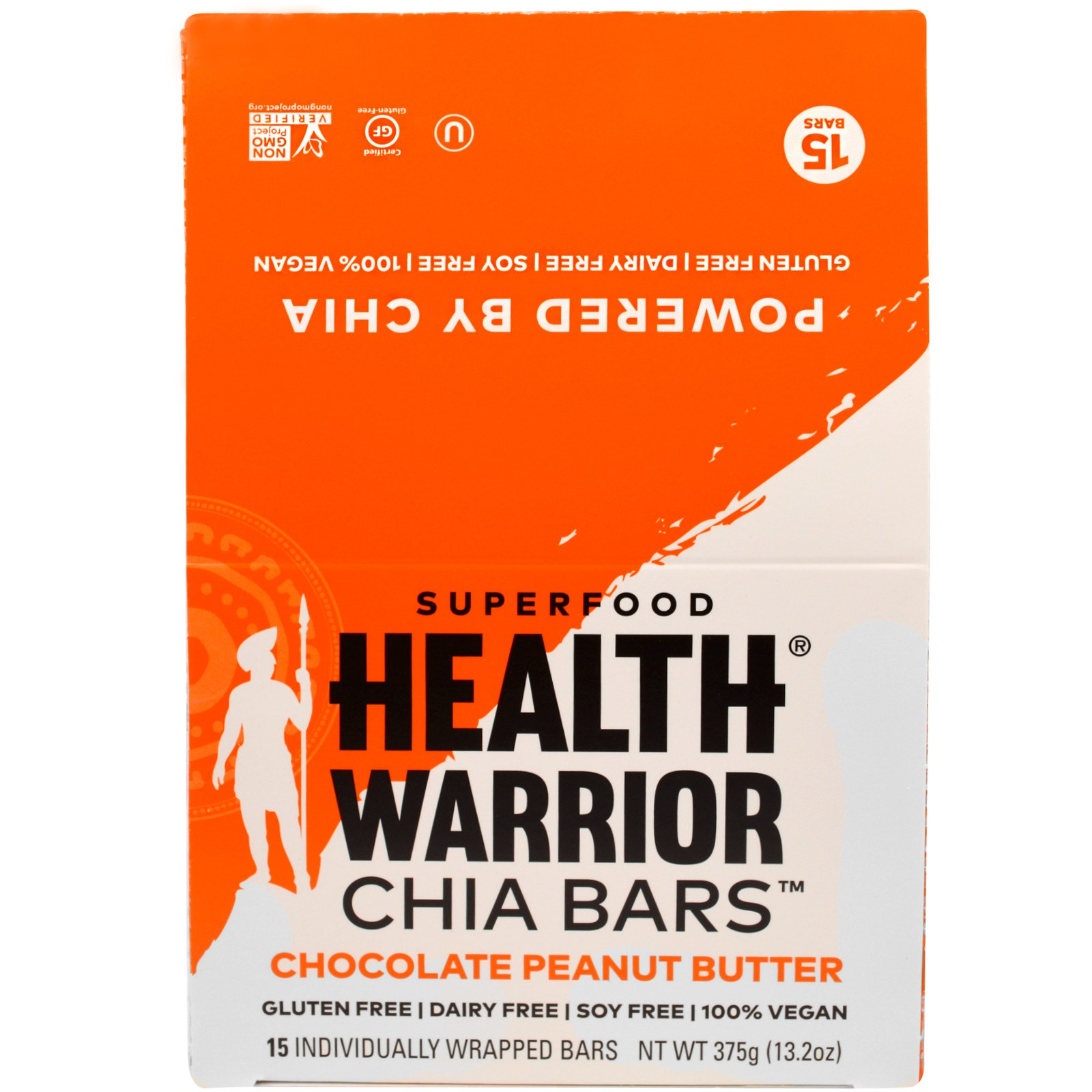 Health Warrior, Inc., Батончики чиа, шоколад и арахисовое масло, 15 батончиков, 375 г (13,2 унций)