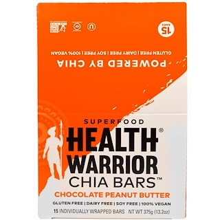 Health Warrior, Inc., Chia Bars, Chocolate Peanut Butter, 15 Bars, 13.2 oz (375 g)