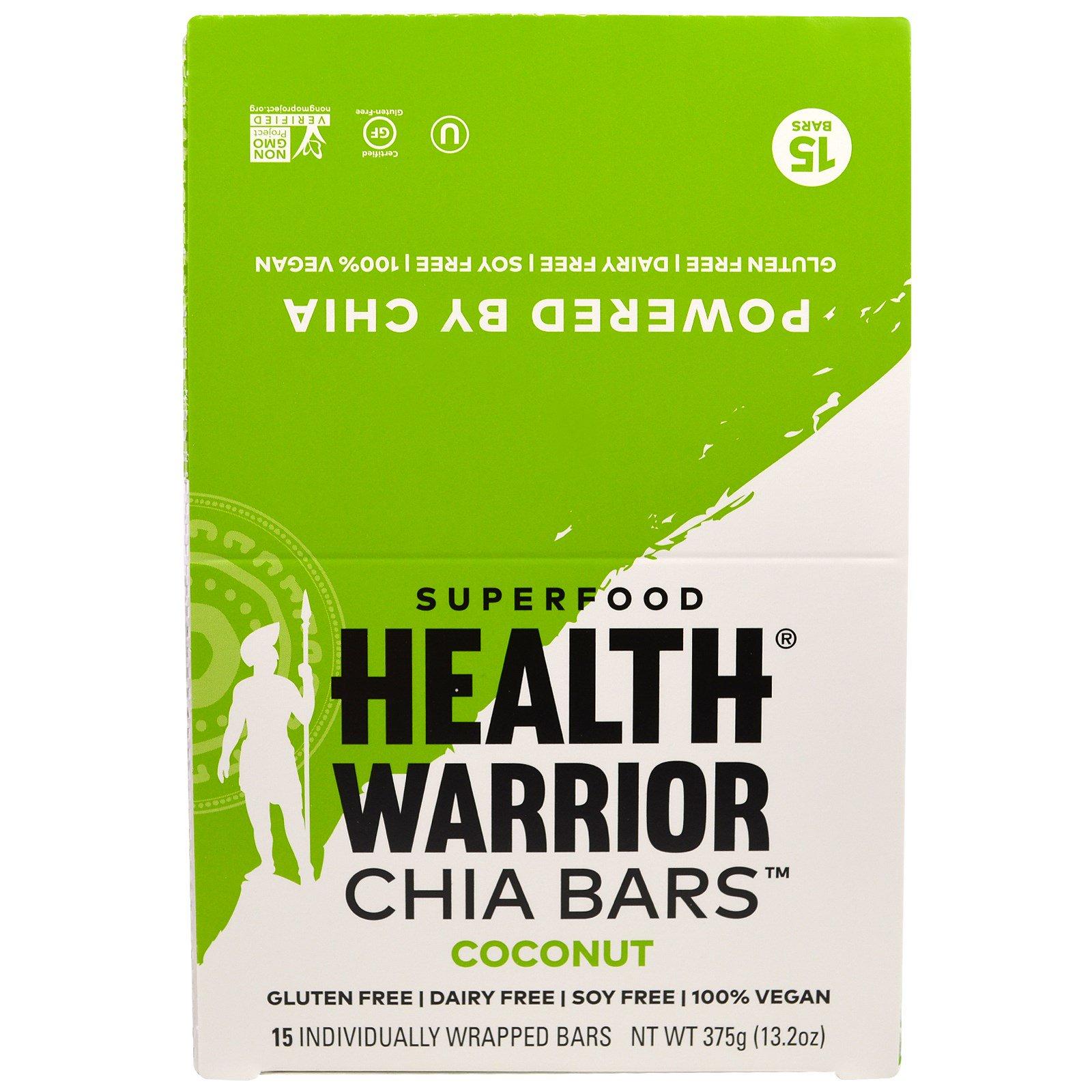 Health Warrior, Inc., Батончики чиа, кокос, 15 батончиков, 375 г (13,2 унций)